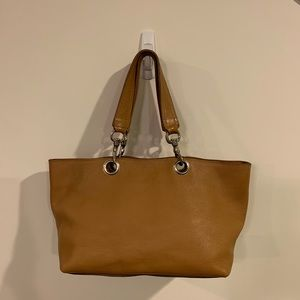 Authentic miu miu Tan Leather Tote Bag, L(T7)